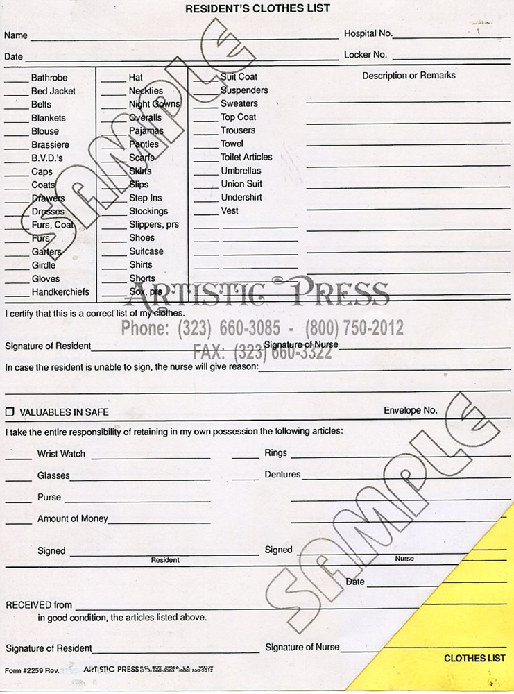 resident s clothing list 2259 ncr inventory