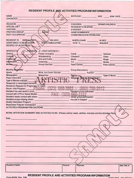 Resident Profile & Activity Program